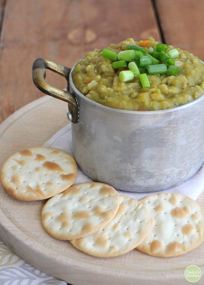 A classic! Homestyle vegan split pea soup is homey, satisfying & delicious | cadryskitchen.com #vegan