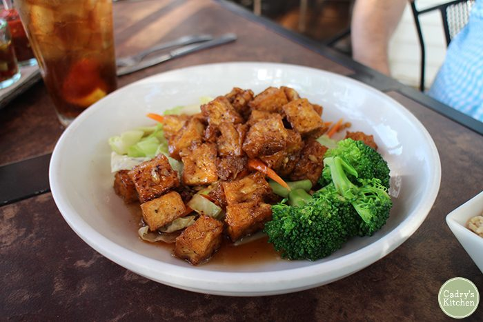 Garlic pepper tofu with broccoli at Exotic Thai.