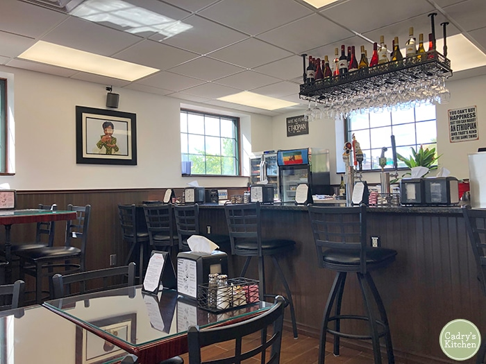 Interior bar & tables at Taste of Ethiopia in Davenport, Iowa.