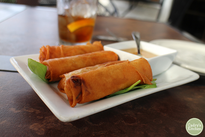 Spring rolls on plate with sauce at Exotic Thai in Davenport, Iowa.