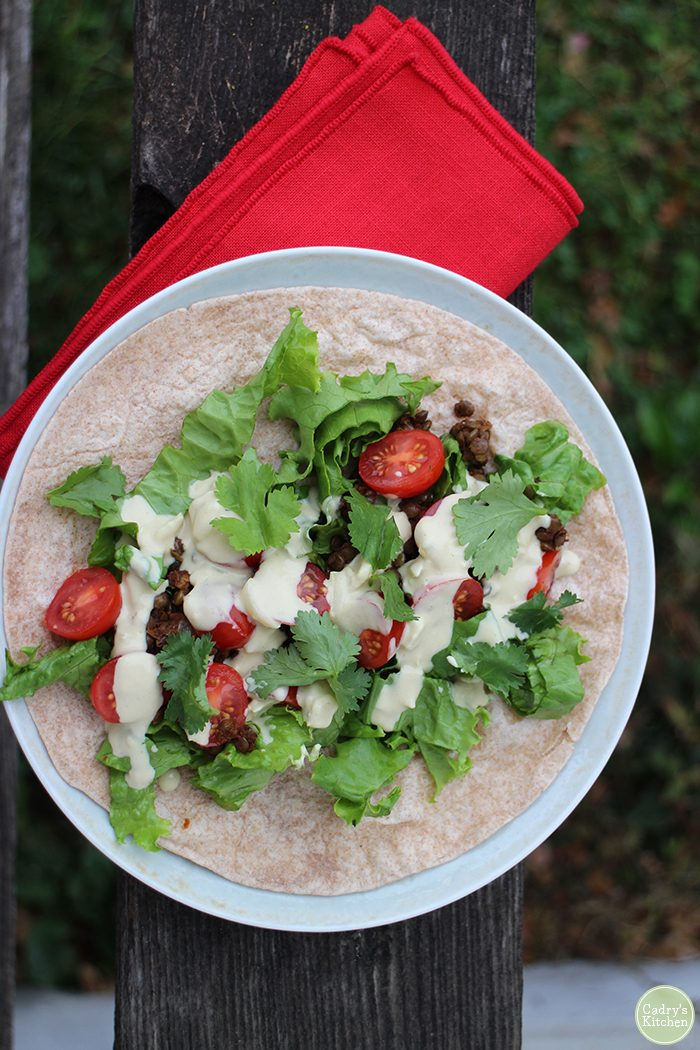 Overhead taco with tomatoes, lettuce, and cashew cheese.
