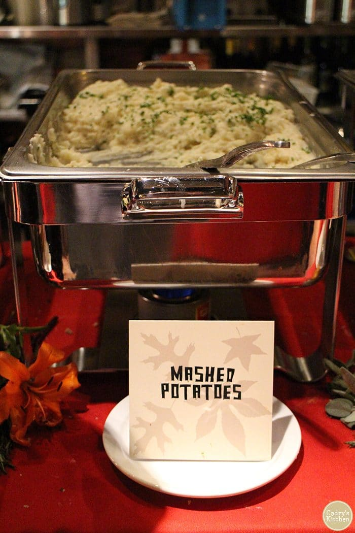 Mashed potatoes in warming tray.