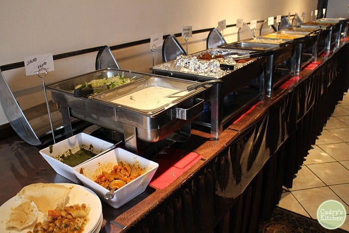 Buffet at Shree Indian restaurant in Westmont, Illinois.