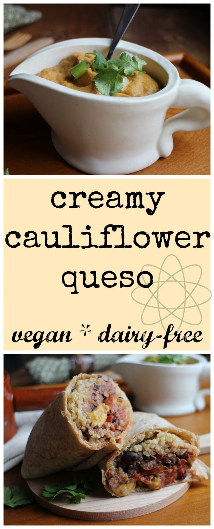 Creamy cauliflower queso: This protein-packed queso is entirely vegan & dairy-free. It gets its creaminess from cauliflower & white beans. | cadryskitchen.com