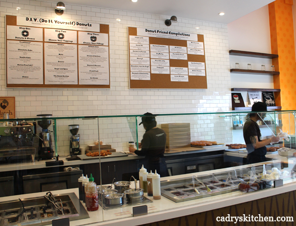Menu and counter at Donut Friend.