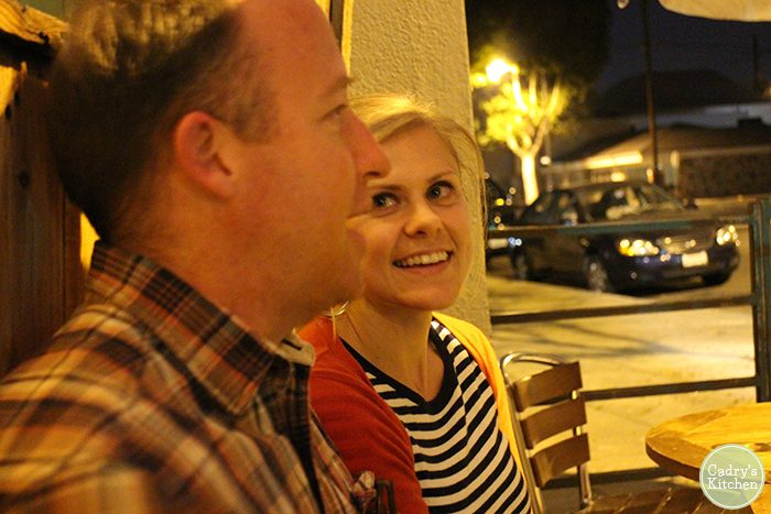 Kristy smiling at Chris at Tony's Darts Away.
