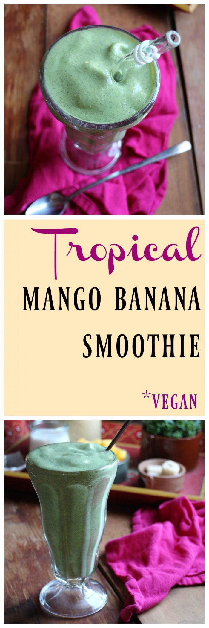 Tropical smoothie with mango & banana from 40 Days of Green Smoothies by Becky Striepe. This dairy-free & vegan smoothie is packed with good for you ingredients. | cadryskitchen.com