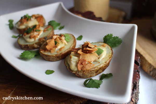Loaded Potato Slices with Cashew Cream & Coconut Bacon