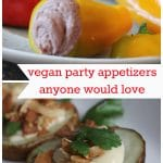 Roasted potato slices with cashew cream & hummus stuffed peppers. Plus text that says, vegan party appetizers anyone would love.