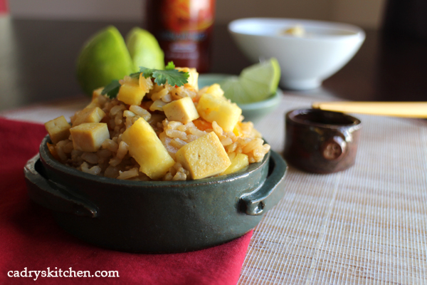 Pineapple fried rice in bowl.