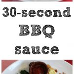 Text overlay: 30 second BBQ sauce. Slabs of barbecued tofu with greens.