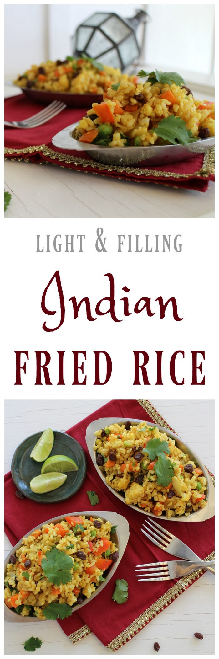 Light & Filling Indian Fried Rice gets its flavor from fresh cilantro, lightly sautéed garlic and ginger, and spices like cumin, coriander, and turmeric. #vegan #vegetarian #indian #rice #side