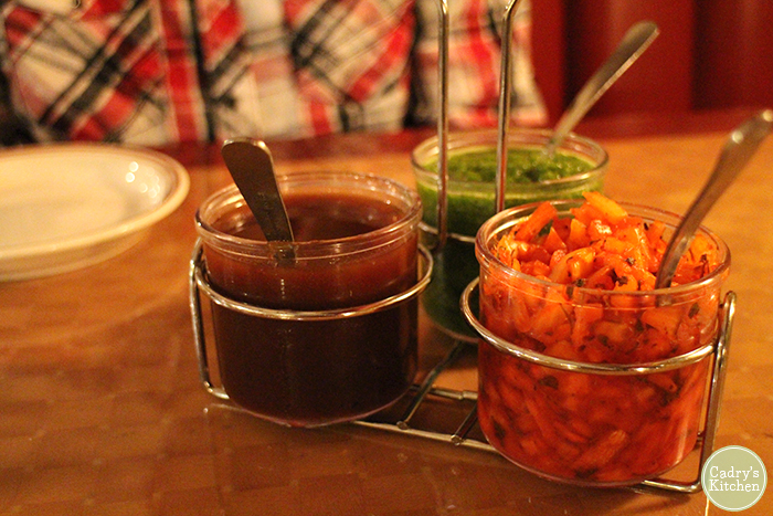 Chutney tray at Mantra.