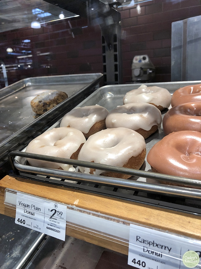 Vegan donuts in the bakery case at Whole Foods in West Des Moines, Iowa.