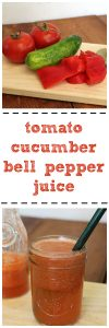 Tomato cucumber bell pepper juice: The best of summer in one savory drink + Add garlic for extra punch | cadryskitchen.com