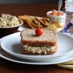 Vegan tuna salad sandwiches with chickpeas