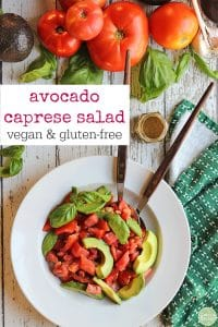 Overhead avocado caprese salad with tomatoes.