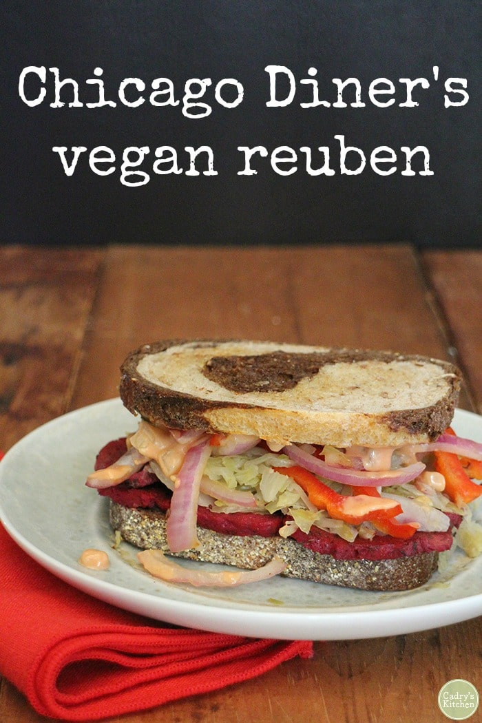 Hold onto your hats. Today I'm sharing the vegan reuben sandwich recipe from the Chicago Diner cookbook. This is a sandwich worth driving hours to obtain, but now you don't have to! Loaded with marinated seitan, sauerkraut, and dressing, it's jam-packed with flavor. #vegan #sandwich #comfortfood #recipe #lunch #seitan #reuben