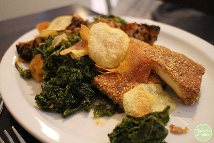 Pecan crusted tofu, kale, and house made chips.
