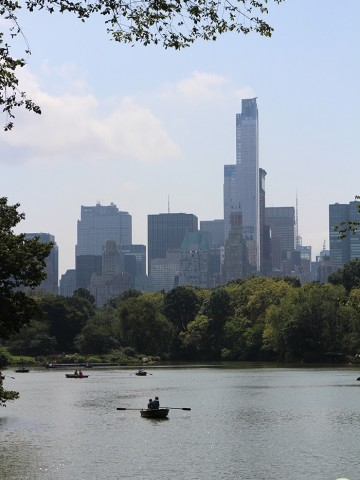 Boating on water in Central Park in NYC.