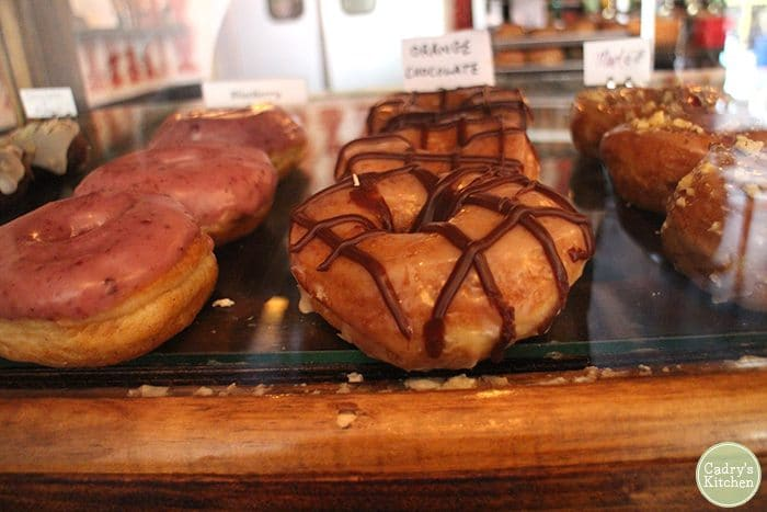 Vegan donut case at Dun-Well in Brooklyn, New York.