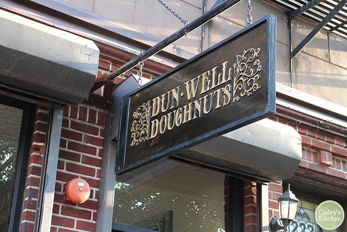 Dun-Well Doughnuts sign in Brooklyn.