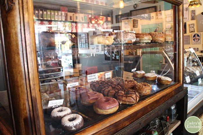 Doughnut case at Dun-Well in Brooklyn.