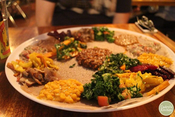 Platter of Ethiopian wots at Bunna Cafe.