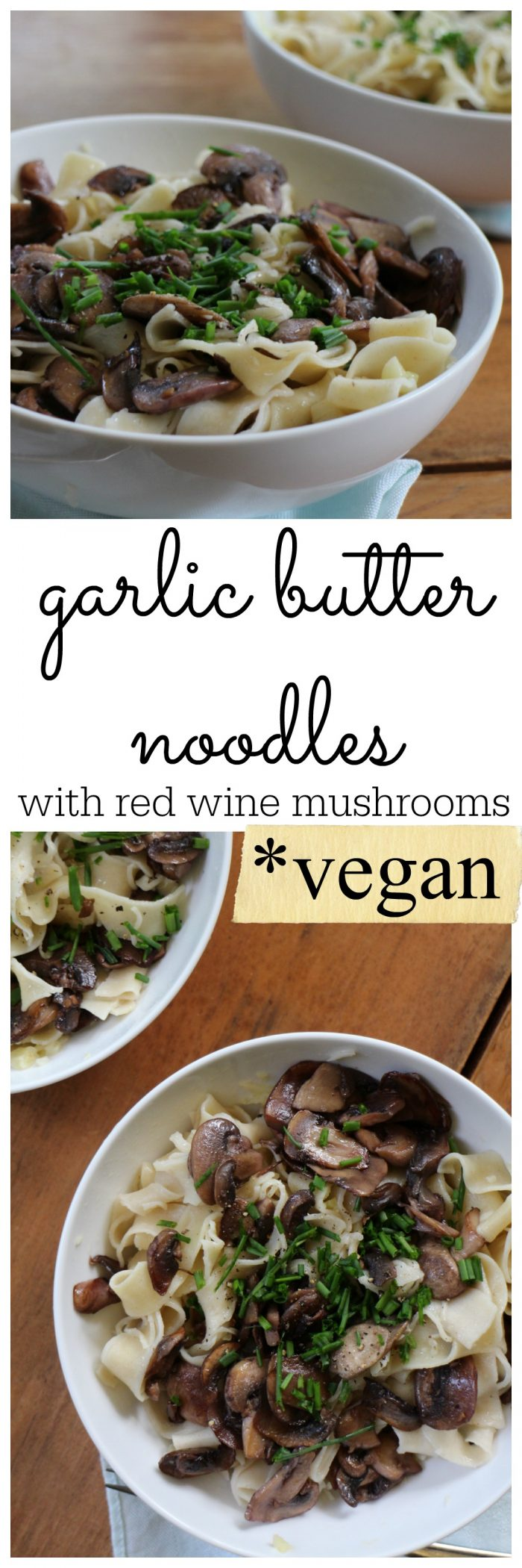 Nothing beats the coziness of garlic butter noodles with red wine mushrooms. Vegan & non-dairy | cadryskitchen.com