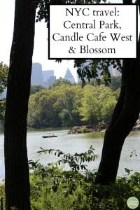 Text: NYC travel - Central Park, Candle Cafe West & Blossom. People rowing in Central Park.
