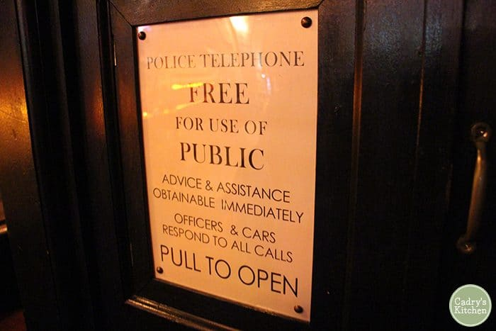 CU Police telephone sign on TARDIS at the Way Station.