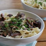 Garlic Butter Noodles with Red Wine Mushrooms