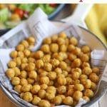 Text overlay: Roasted chickpeas. Garbanzo beans in pan.