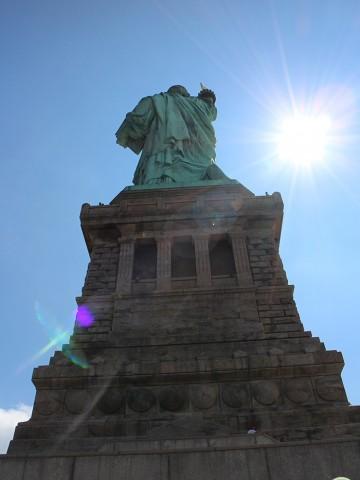Pedestal & back of Statue of Liberty on Liberty Island, New York