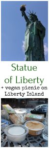 Statue of Liberty + picnic on table at Liberty Island