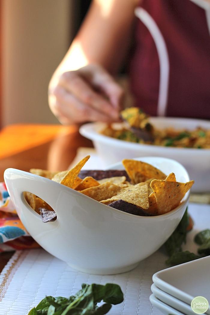 Bowl of tortilla chips.