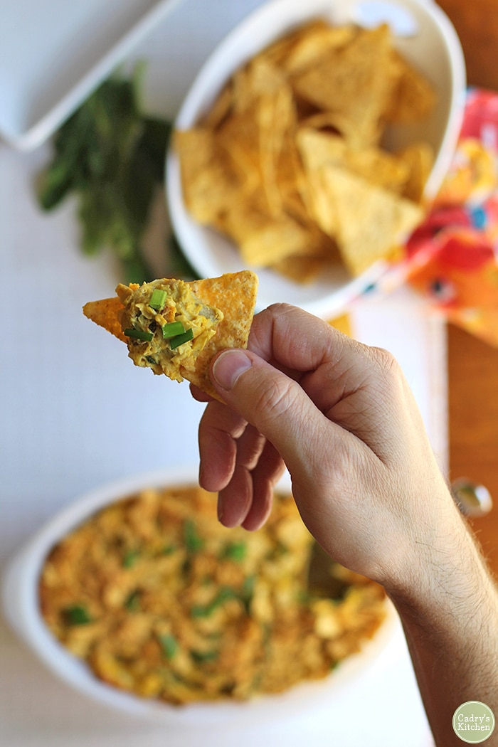Hand holding chip with vegan dip.