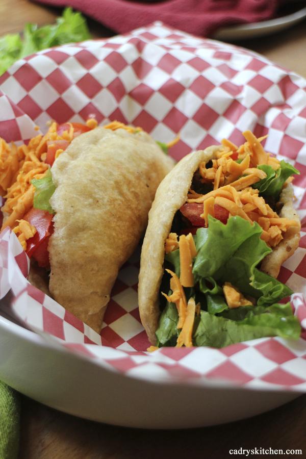 Vegan chorizo & black bean fried puffy tacos
