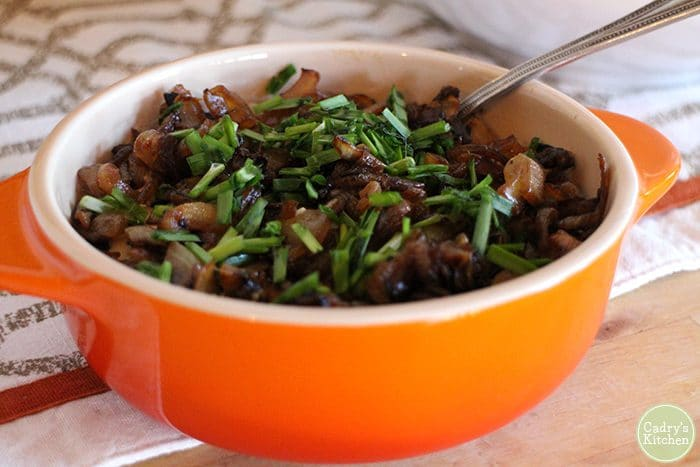 Vegan onion dip in casserole dish.