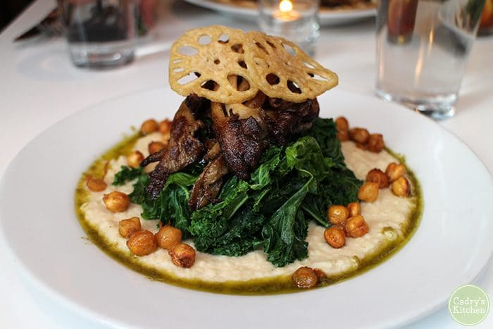 Oyster mushrooms with sauteed kale, parsnip puree, fried chickpeas, and lotus root.