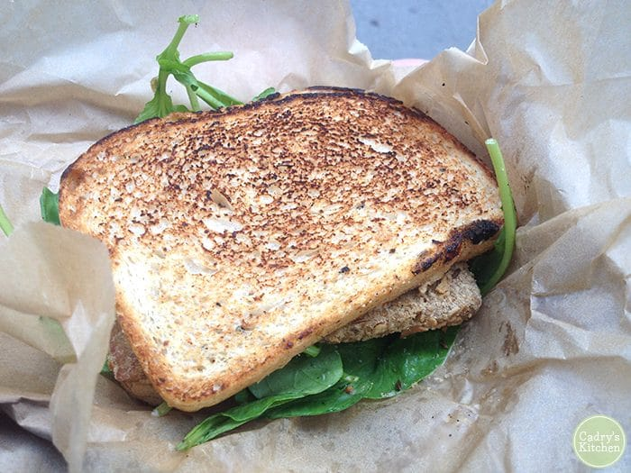 Tempeh sandwich from Cinnamon Snail food truck in New York City.