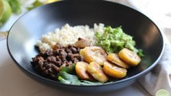 Black bean bowl with fried plantains and guacamole.