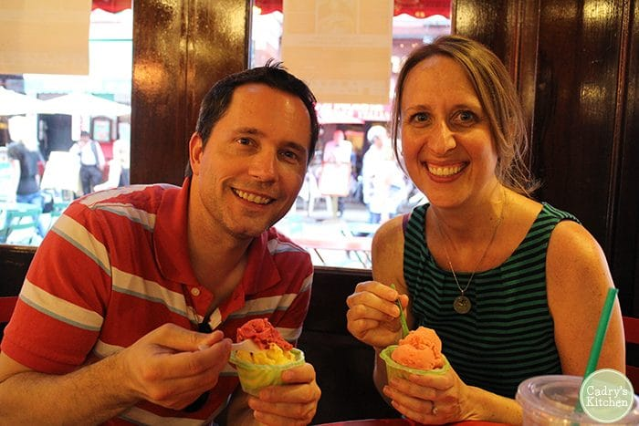 Cadry and David eating vegan sorbet in NYC