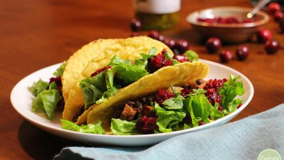 Sweet potato & black bean tacos with cranberry orange salsa - A fun way to use fresh cranberries. Vegan & gluten-free | cadryskitchen.com