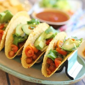 Platter of garbanzo bean tacos.