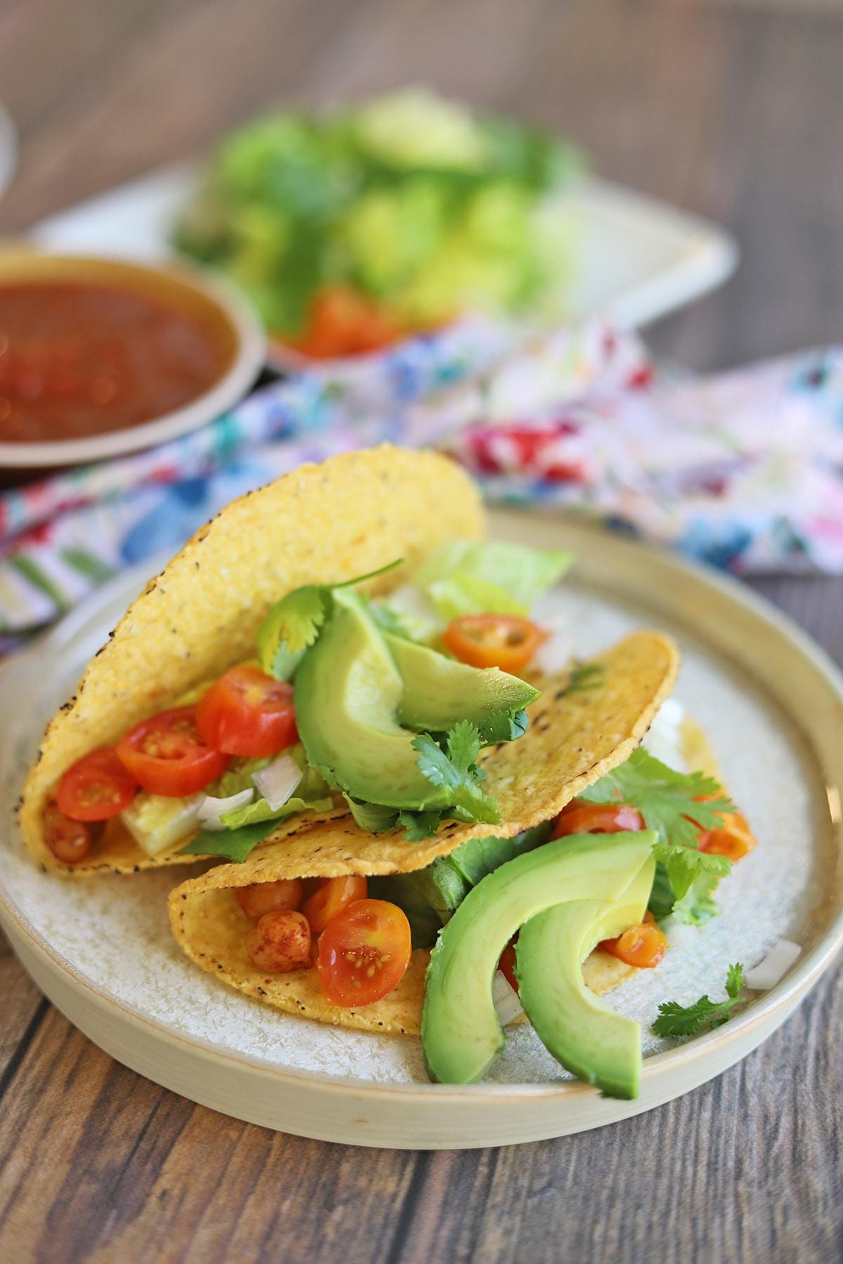 Garbanzo bean tacos on plate.