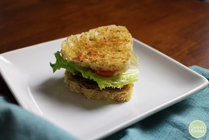 Tiny sandwich made with heart-shaped bread.