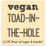 Text overlay: Vegan toad-in-the-hole. Tofu eggs in toast on breakfast tray.
