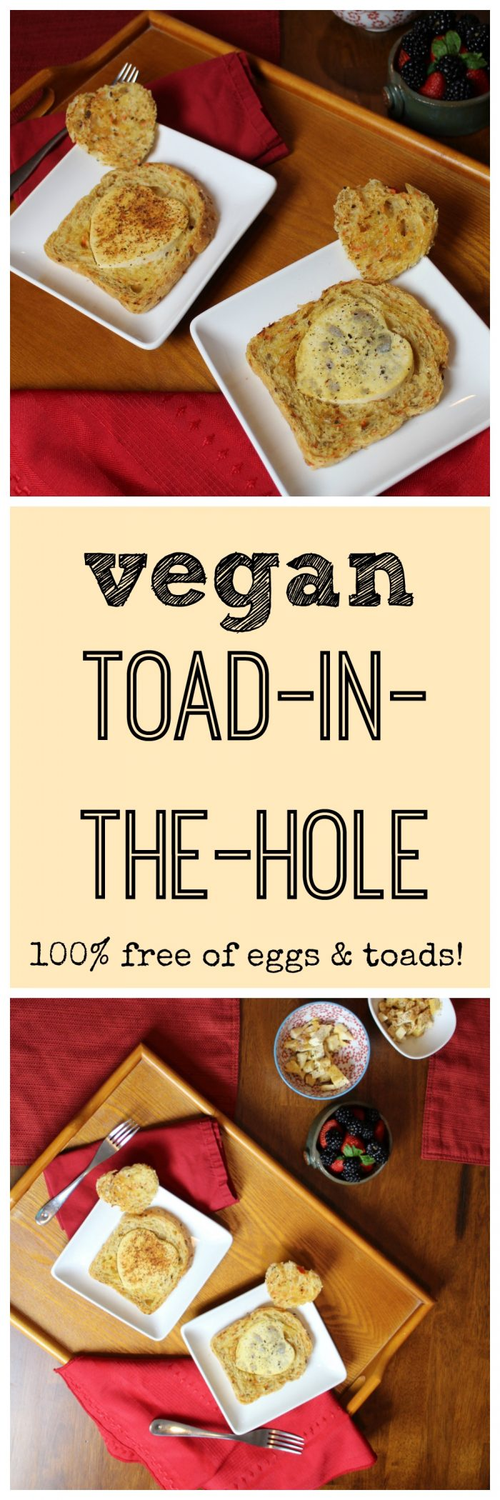 A vegan version of toad-in-the-hole. No eggs or toads involved! It's a fun & tasty breakfast. | cadryskitchen.com