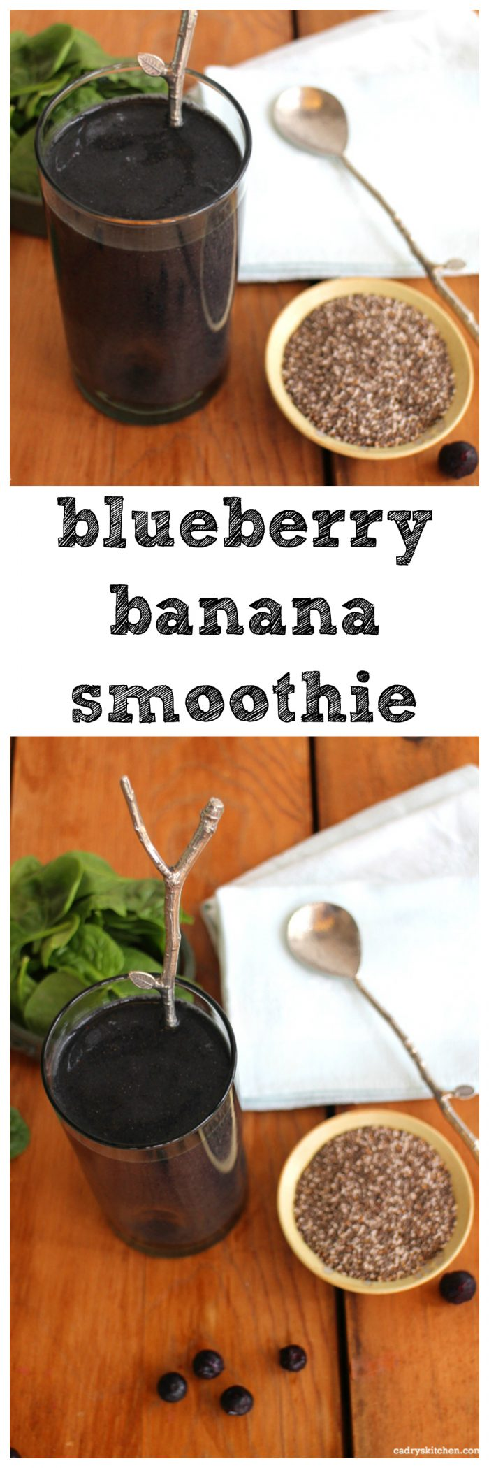 This blueberry banana smoothie is a mouthwatering start to the day. It makes for a great breakfast or afternoon snack. Plus, it's vegan & gluten-free. | cadryskitchen.com